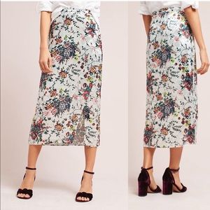 Maeve Anthro Velvet Floral Print Pencil Evie Skirt